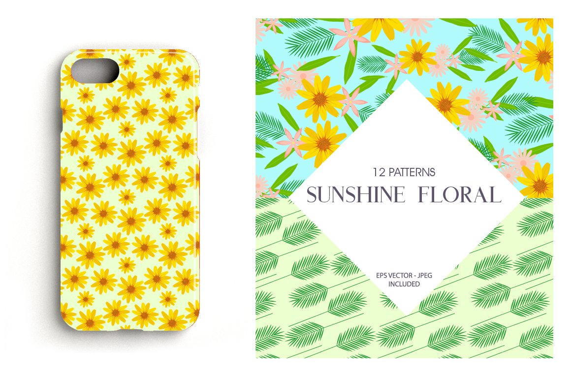 Sunshine Florals Pattern collection, vector ai, eps and jpeg example image 4