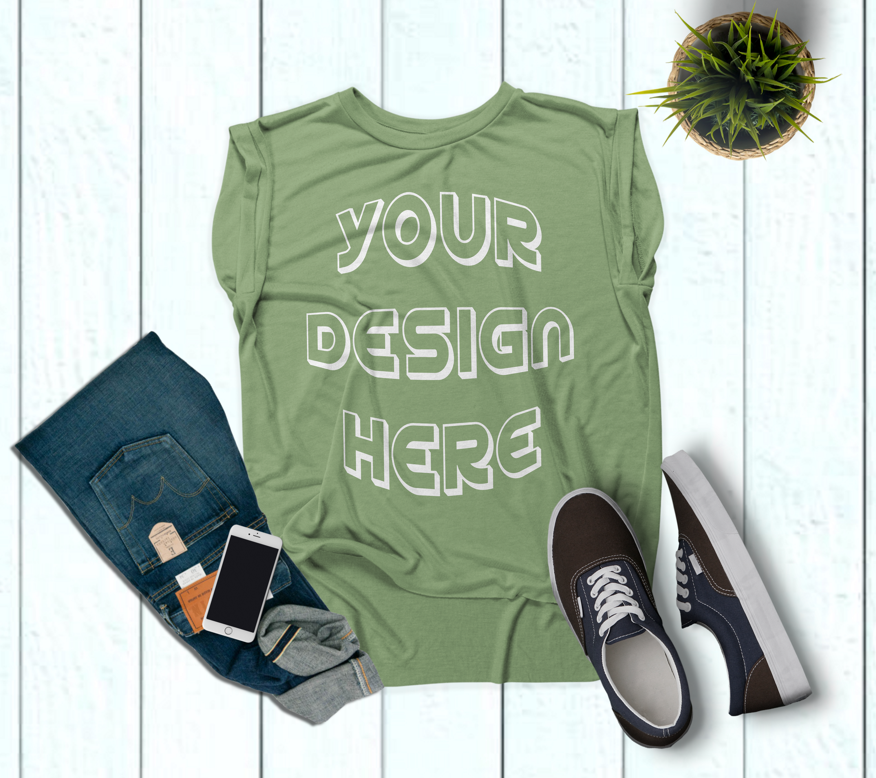 Women's Rolled Cuffs Tank Mockups - 7 example image 8