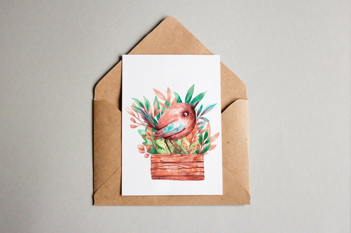 Tiny Birds - Watercolor Clip Art Set example image 14