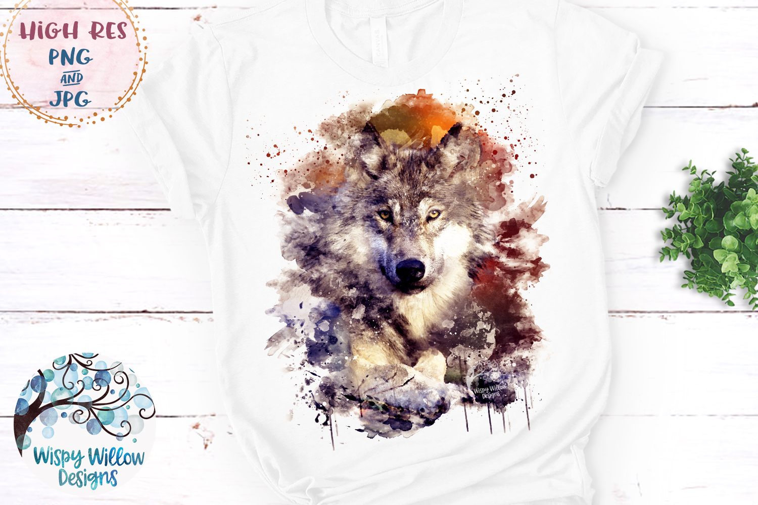 Watercolor Wolf | PNG and JPG | Sublimation example image 2