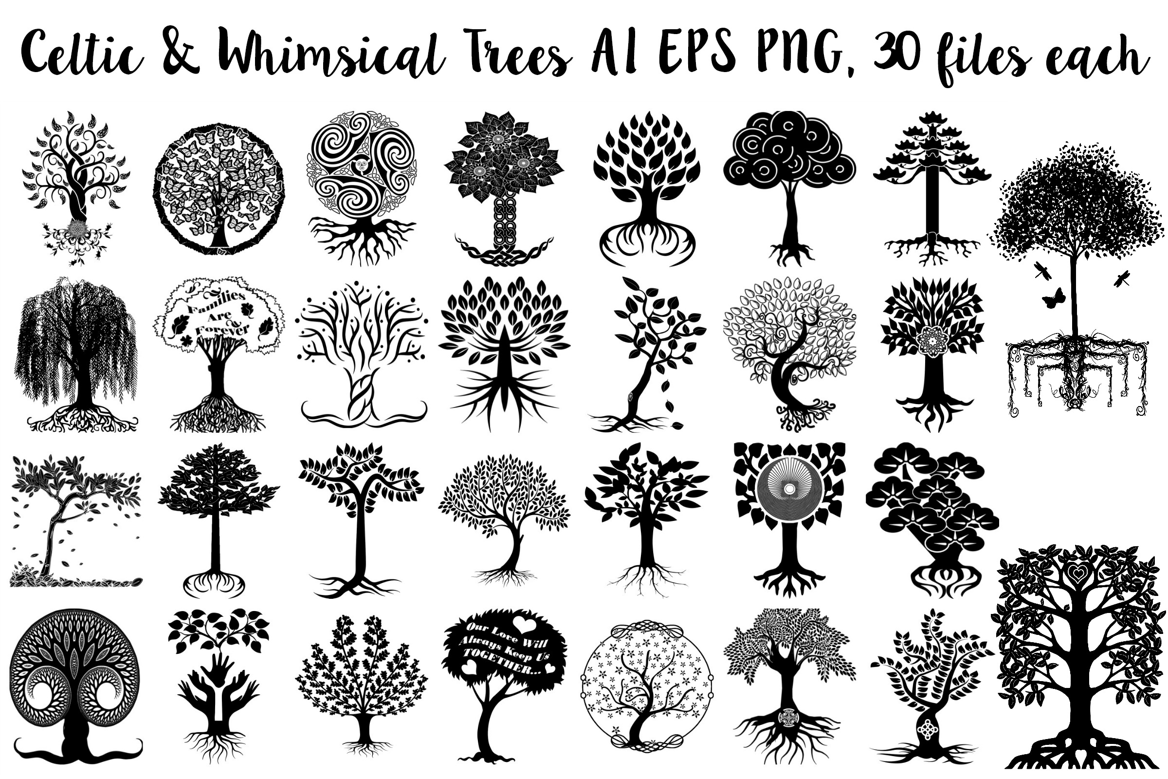 Celtic & Whimsical Trees w/Roots AI EPS Vector & PNG example image 1