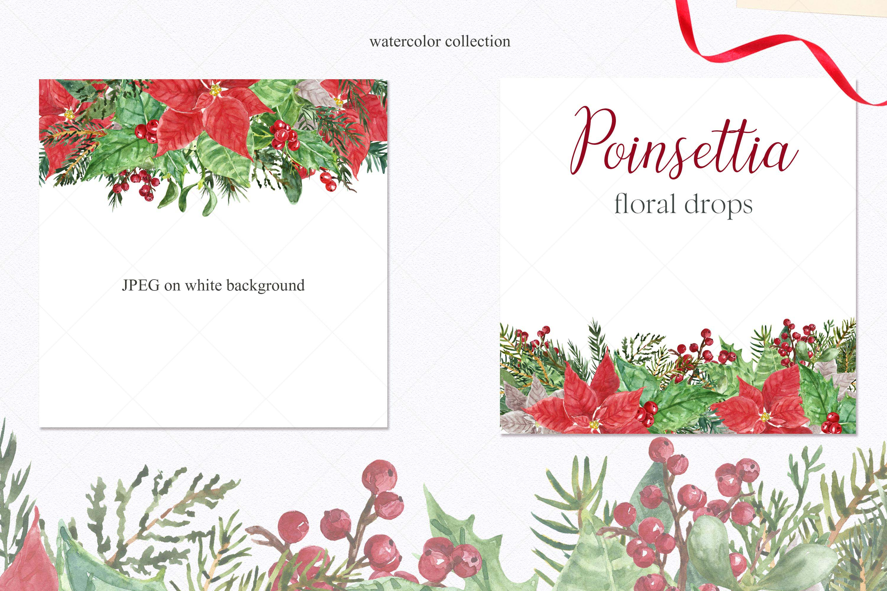 Watercolor Christmas Poinsettia Holiday Wreath Clipart example image 7