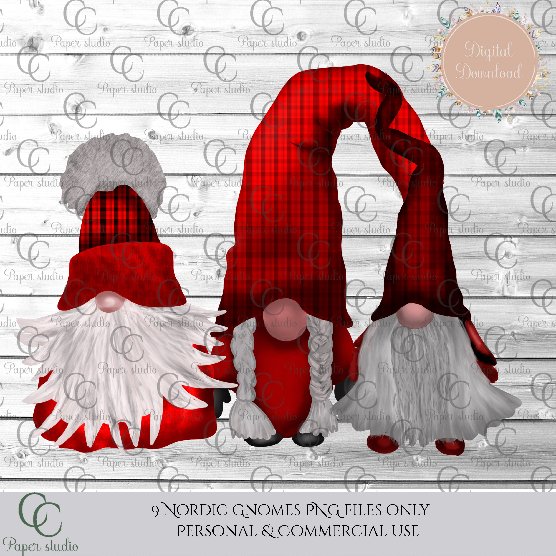 Scandinavian Tomte Gnomes - Christmas red tartan example image 4