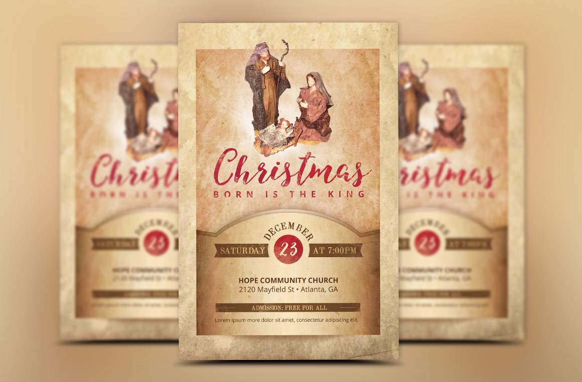 Vintage Christmas Cantata Flyer Template example image 1