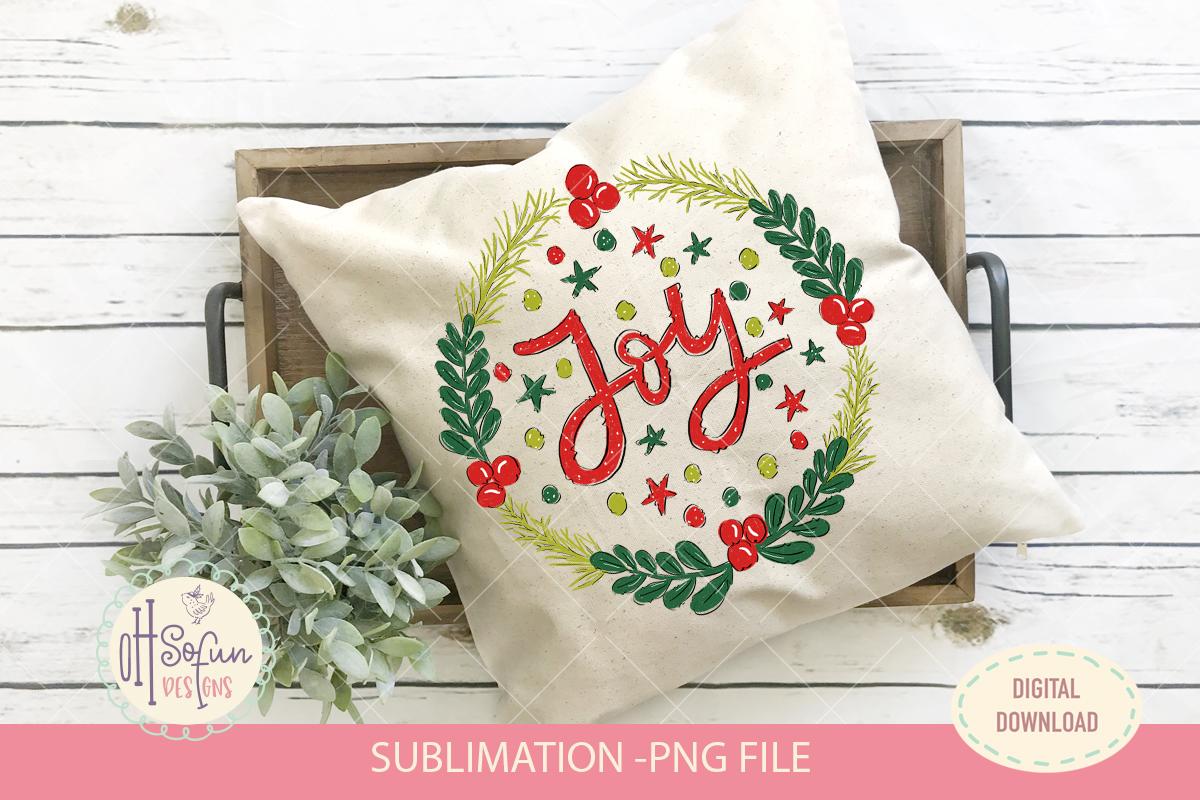 Joy christmas sublimation, christmas wreath doodle example image 3