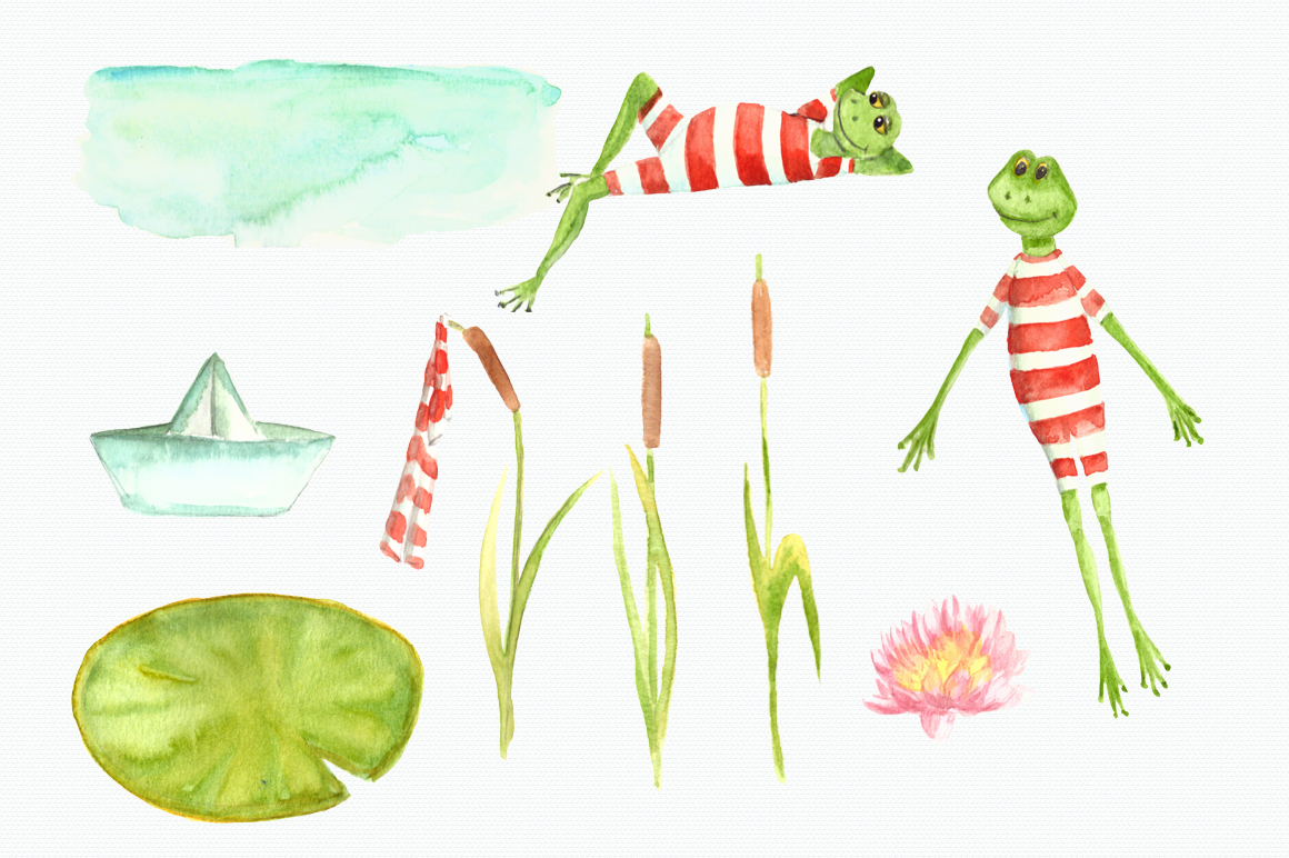 Watercolor Frogs Clip Art Set example image 2