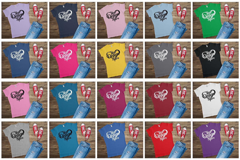 Gildan Ladies T-Shirt Mockup Mega Bundle Flat Lay 64000L example image 5