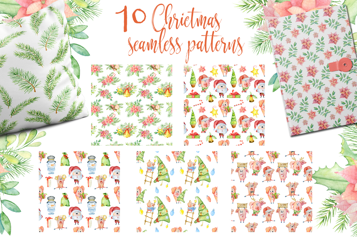 Christmas seamless patterns with pigs example image 2