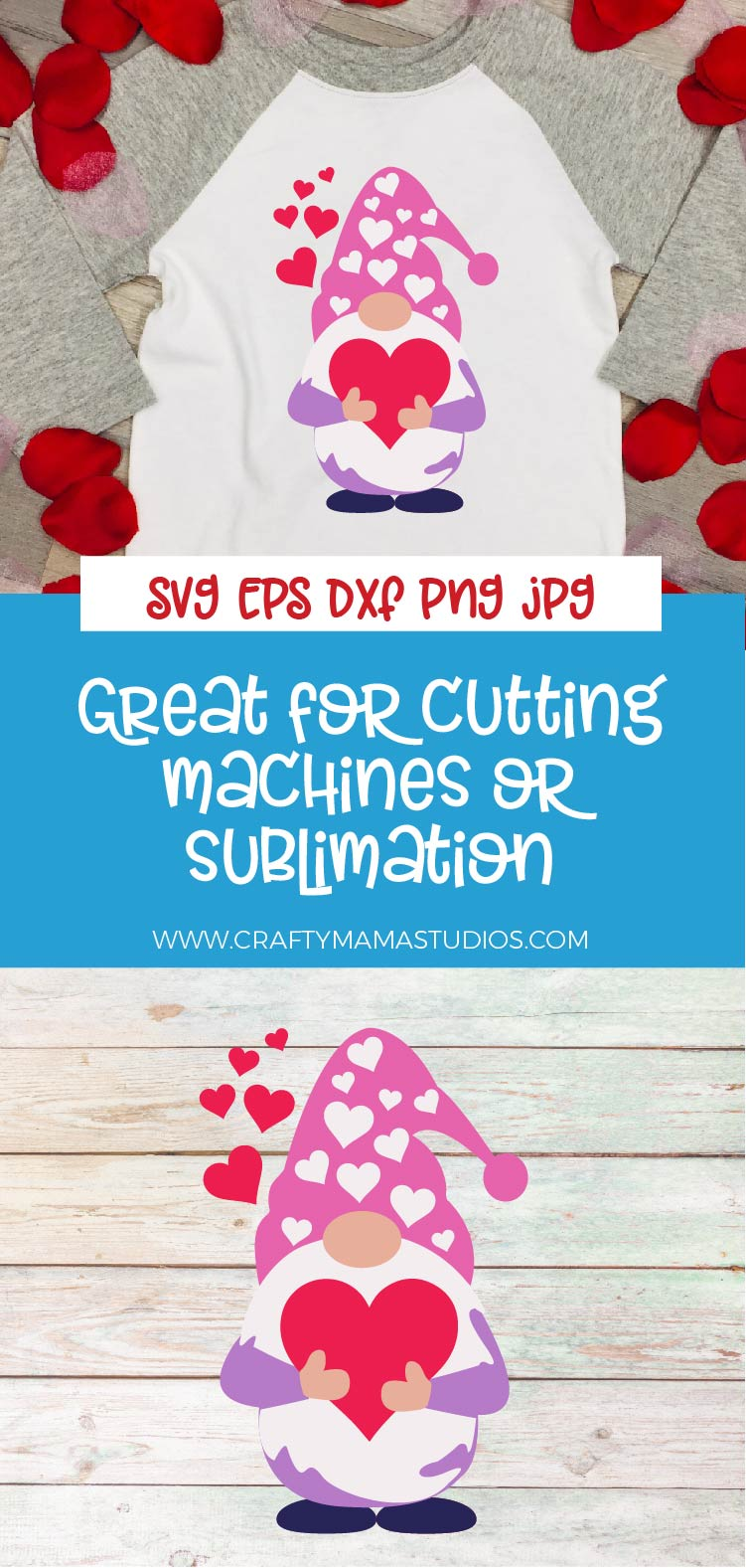 Valentine's Day SVG Valentine Gnome With Hearts Sublimation example image 3