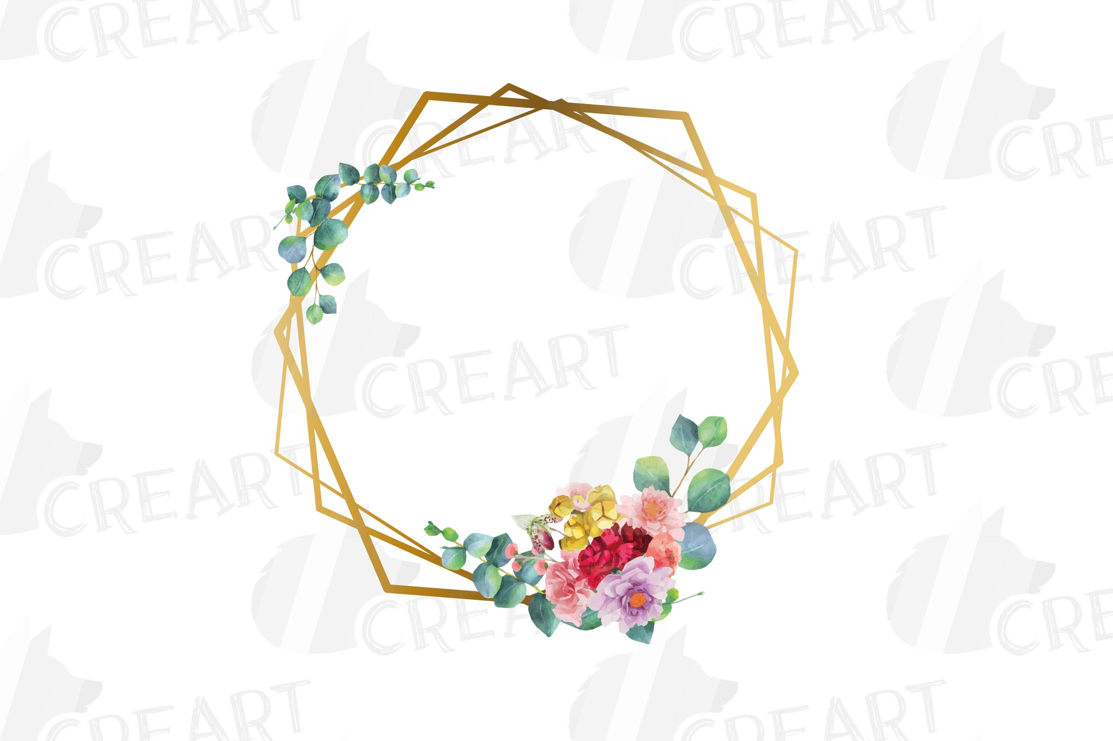 Watercolor floral golden frames and borders clip art pack example image 9