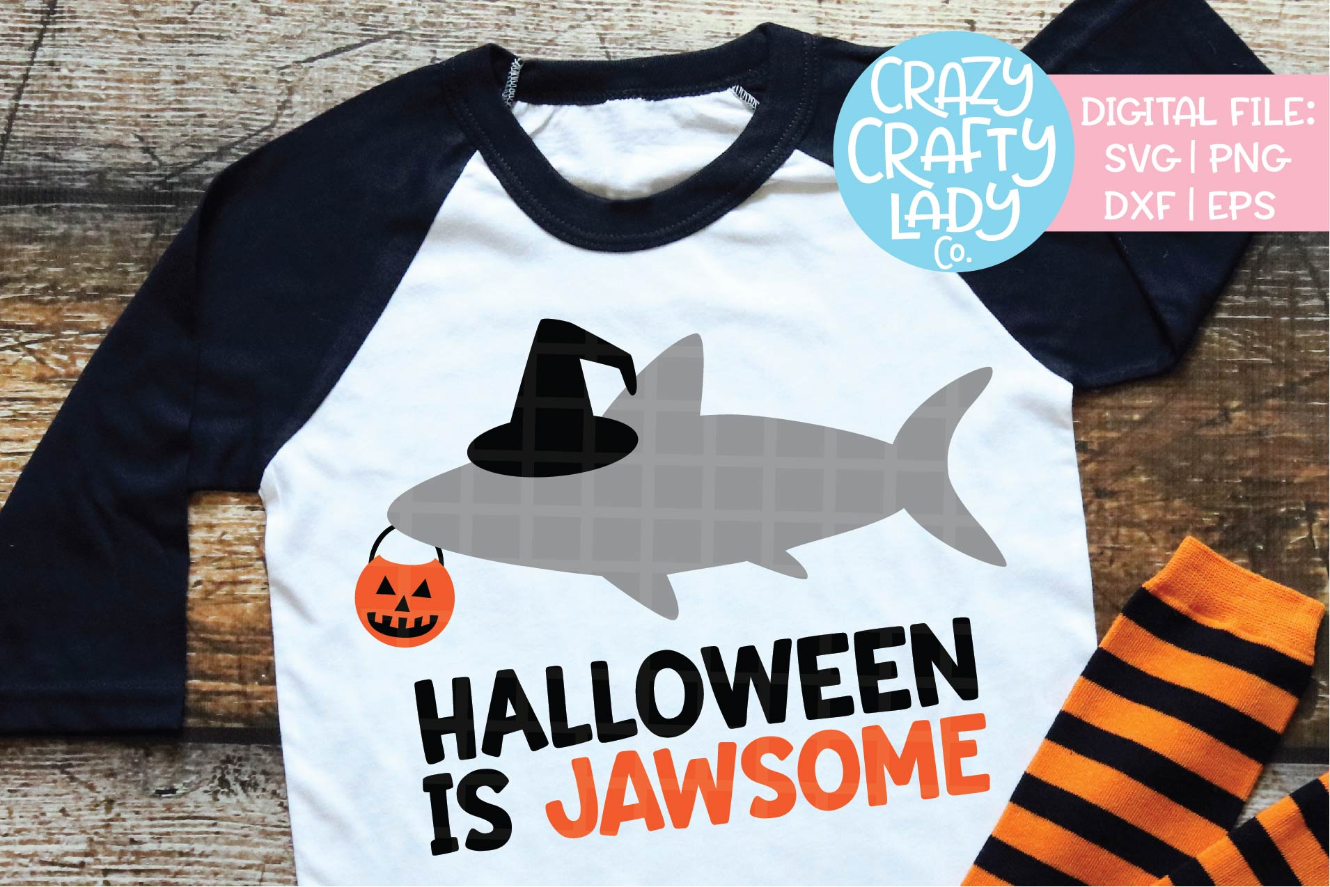 Halloween Shark SVG DXF EPS PNG Cut File example image 1