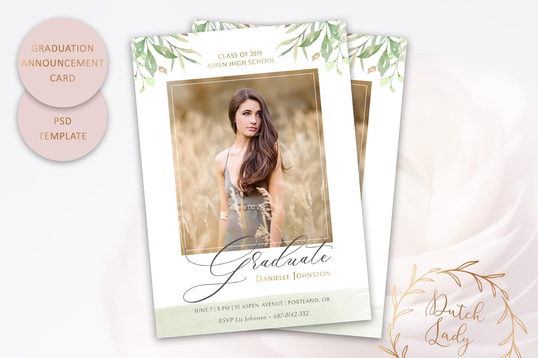 PSD Graduation Announcement Card Template - Design #1 example image 1