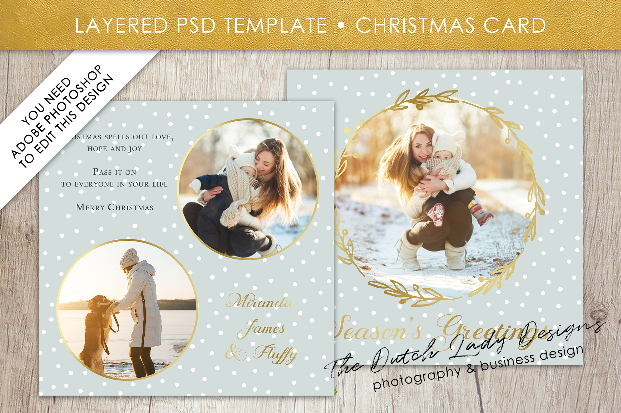 Psd Christmas Holiday Greetings Photo Card Template 10