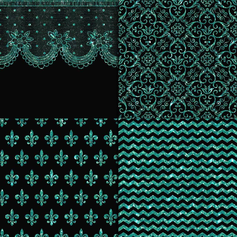 Turquoise Glitter & Black Digital Paper example image 4