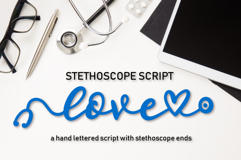 Stethoscope Script - A Nurse Font example image 1
