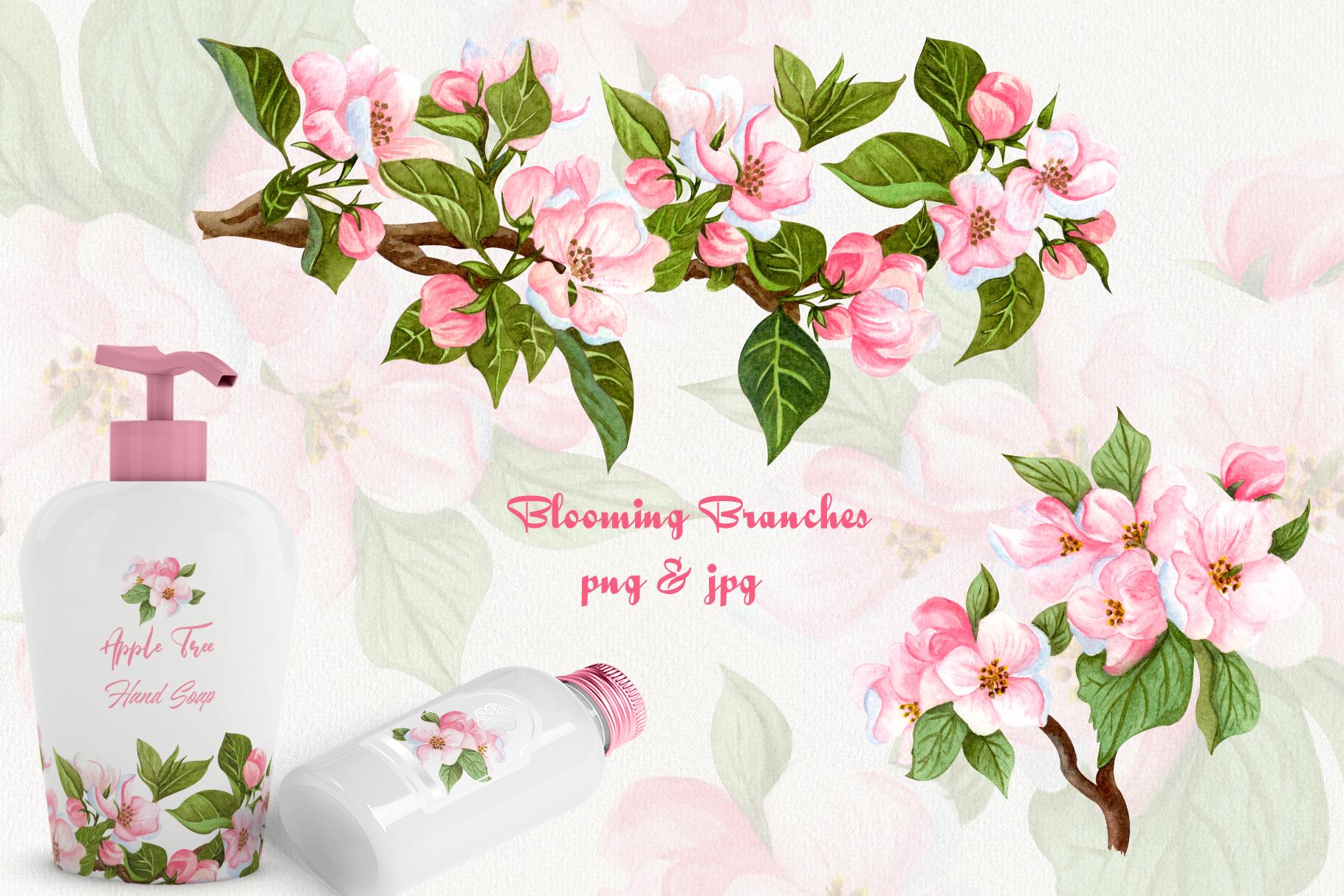 Apple Blossom Watercolor Clip ARt example image 4