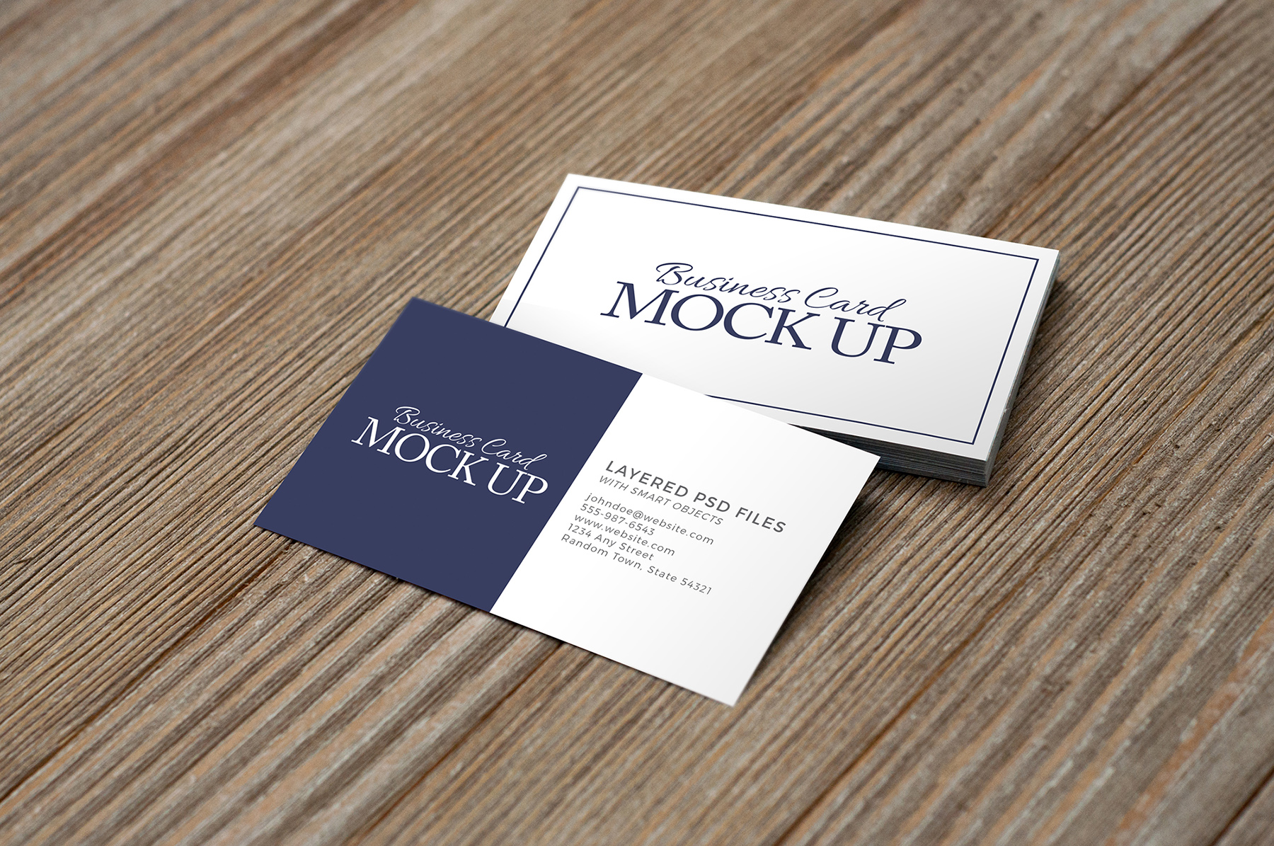 Business Card on Wood Mockup Pack example image 4