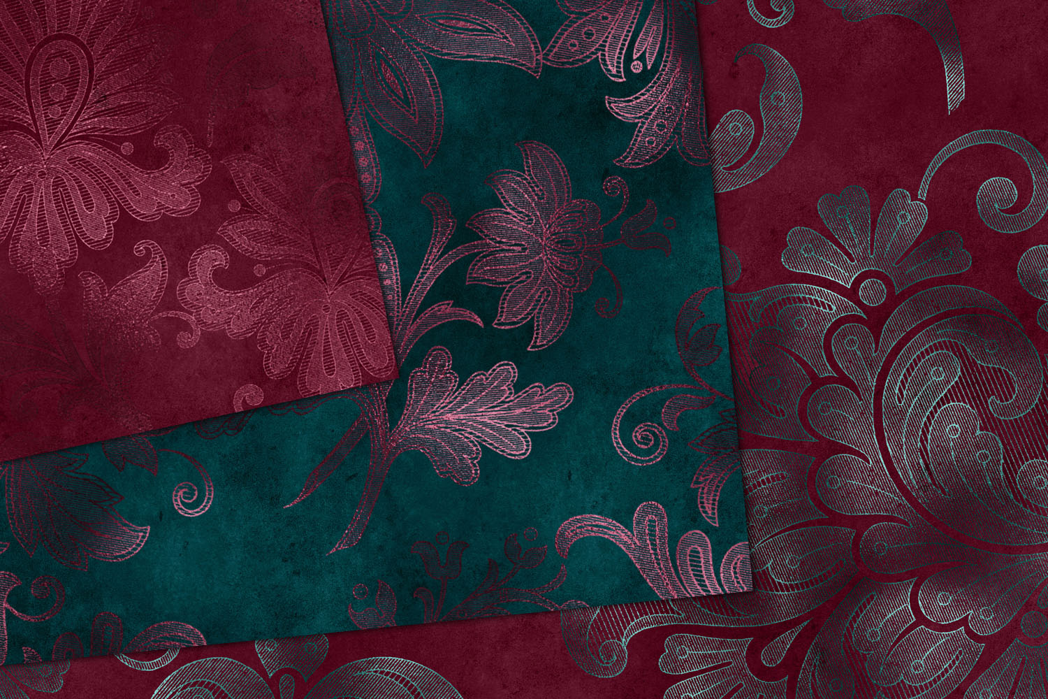 Teal and Burgundy Floral Digital Paper example image 2