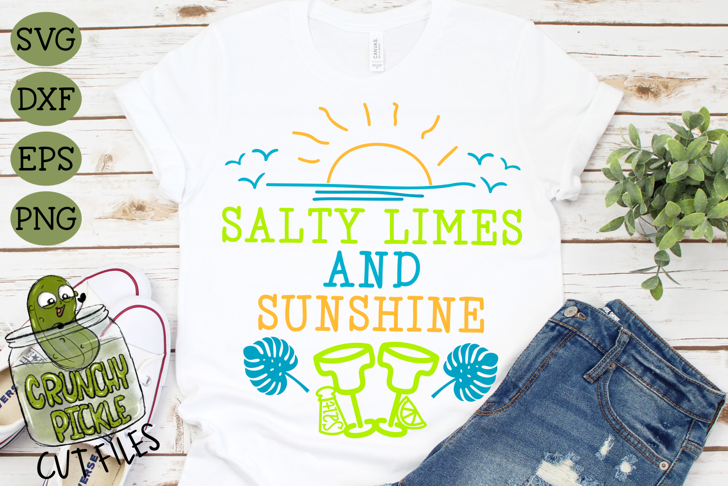 Salty Limes and Sunshine Summer Beach SVG example image 1