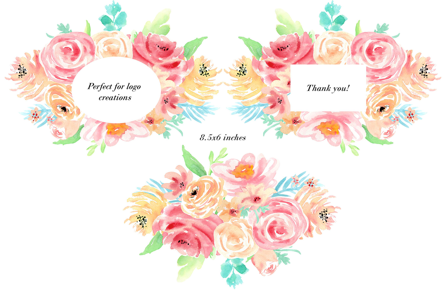Watercolor flowers clip art. For wedding invitations, scrapbook, thank you card, logo creations. BOHO, Hand painted Watercolor floral example image 3