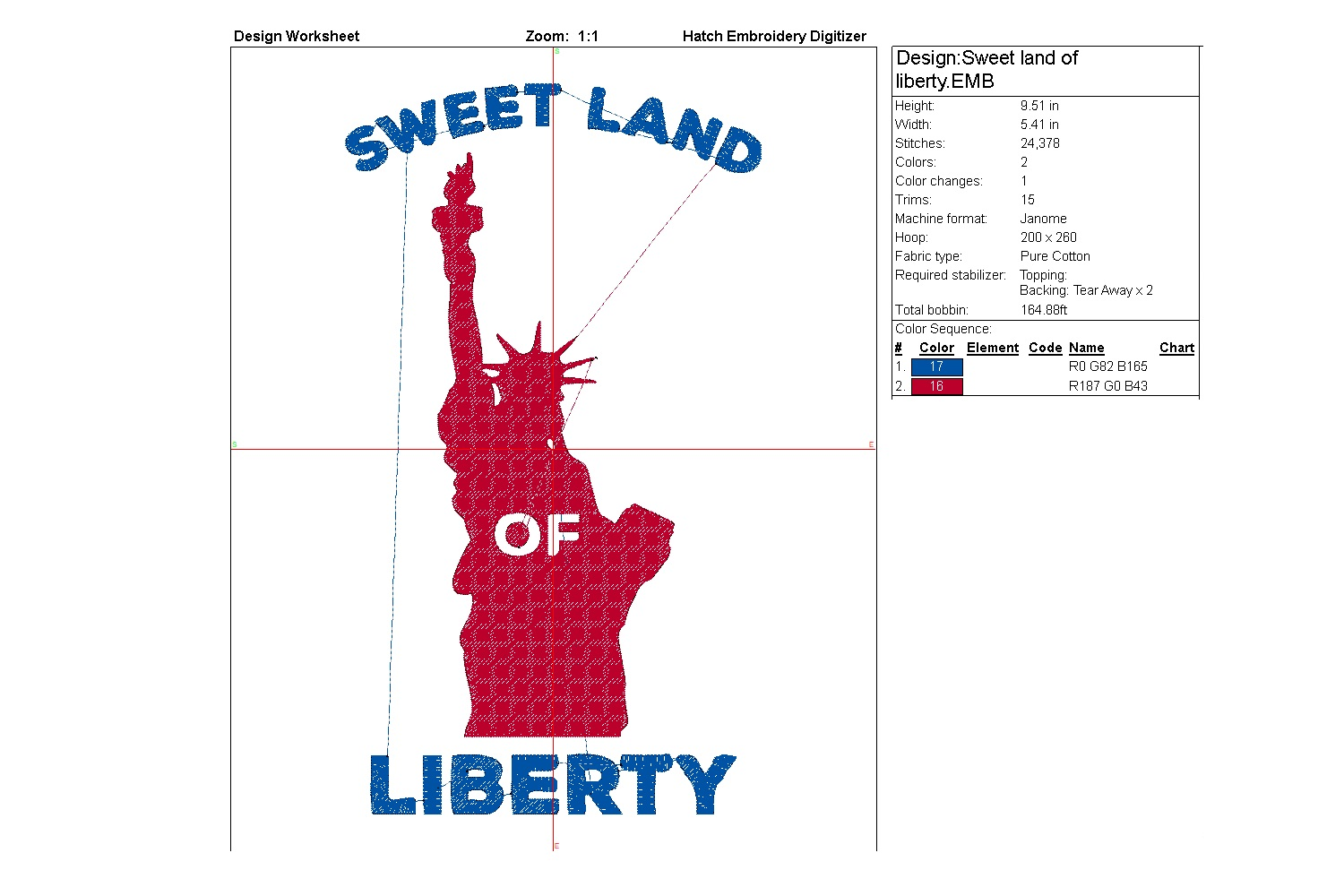 Sweet land of liberty| Independence day | Machine embroidery example image 6