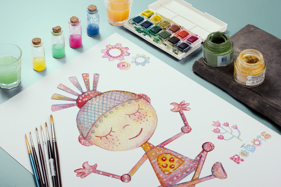 Watercolor Robots Party example image 10