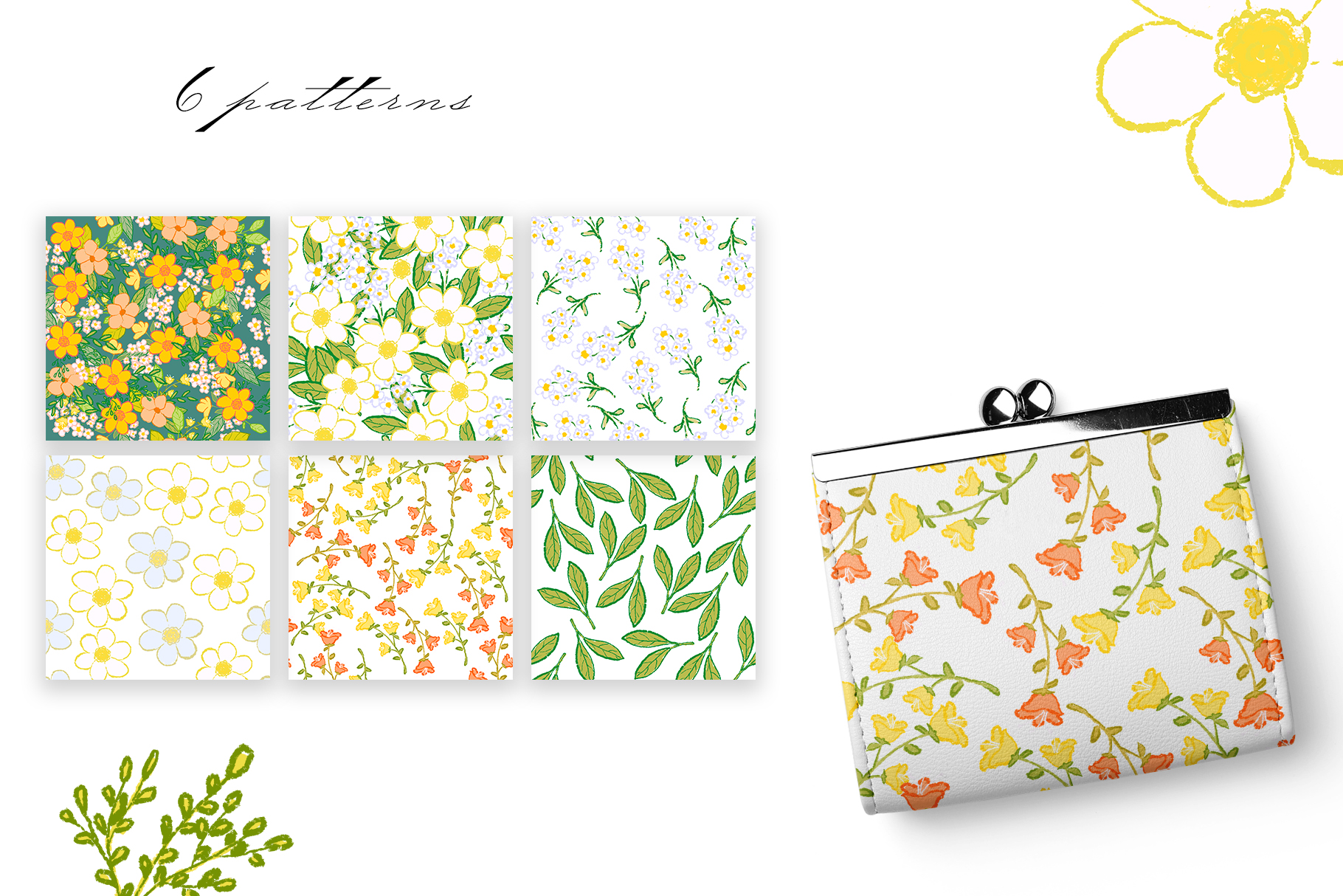 Hand draw colorful spring flowers example image 11