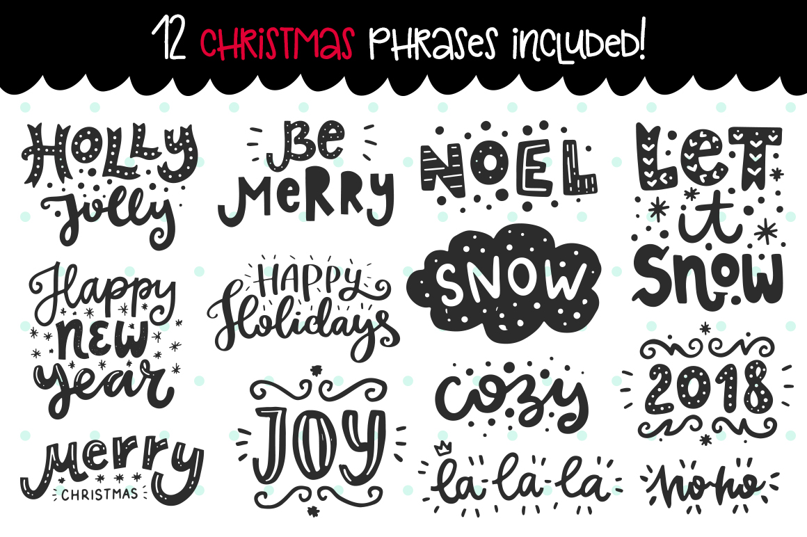 610+ Christmas Doodles - Clipart Set example image 4