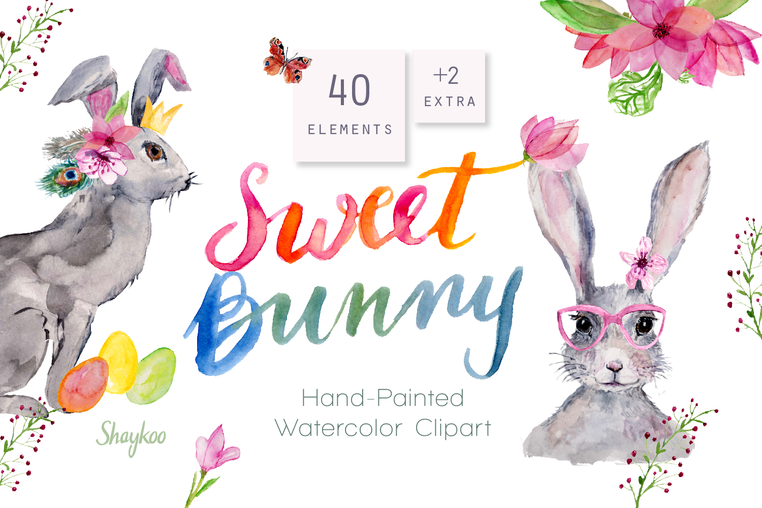 Bunny Watercolor Clipart, Handpainted, Boho, Nursery Bunnies example image 1