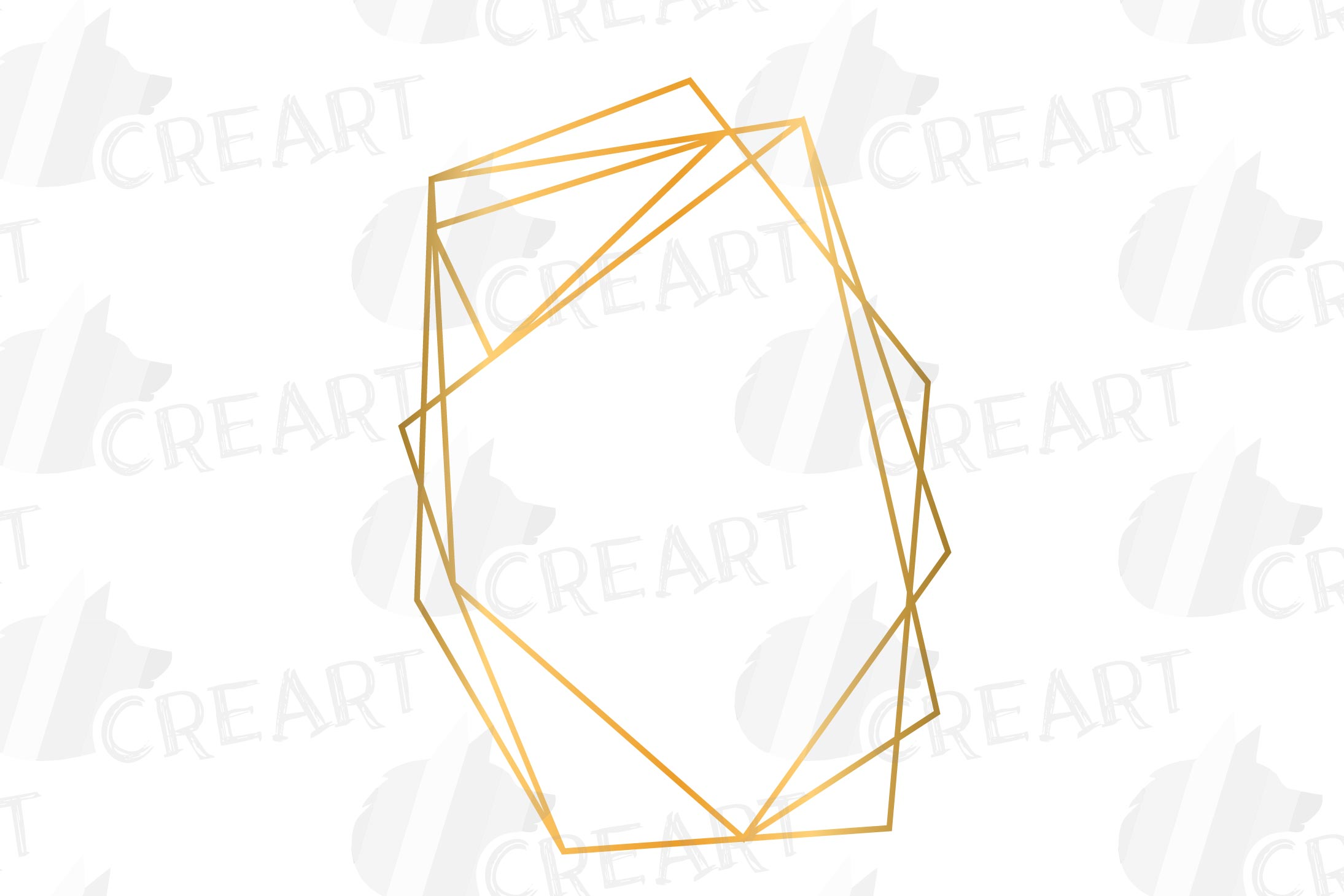 Golden geometric frames clip art. Wedding invite geo borders example image 4