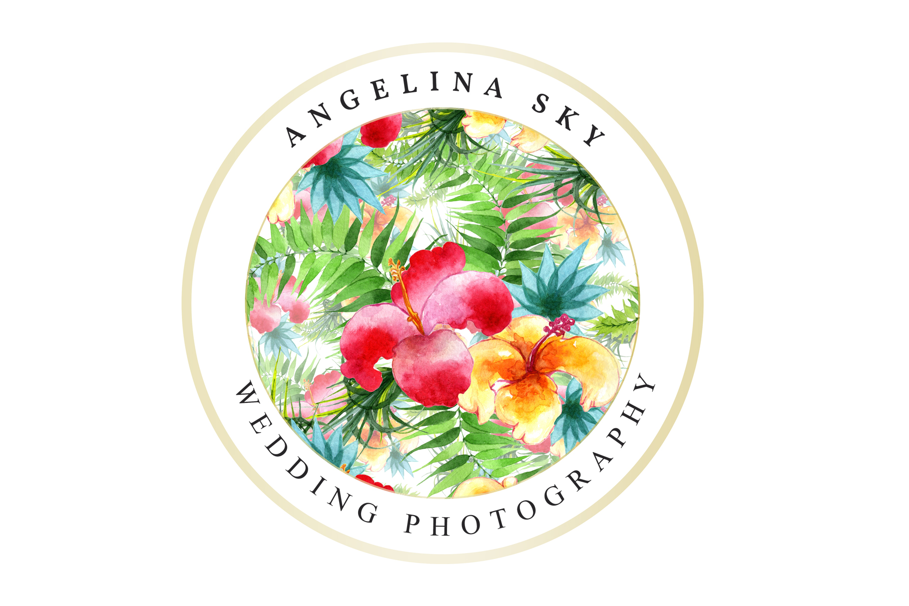 LOGO with bright tropical flowers Watercolor png example image 5