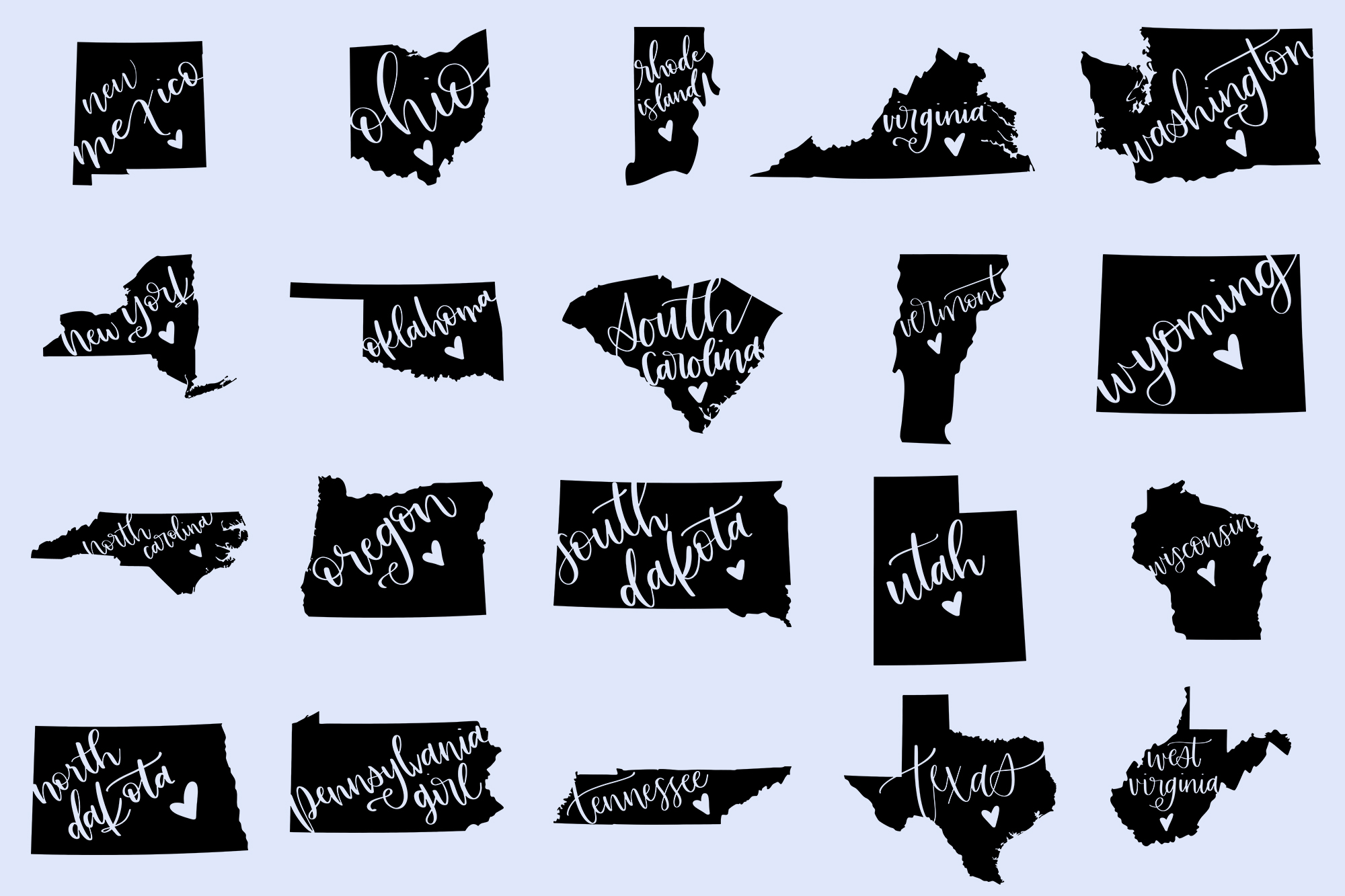 The US State Love SVG Bundle example image 3