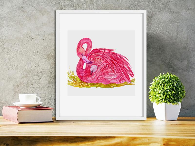 Flamingo.birds clipart. Watercolor Illustration example image 6