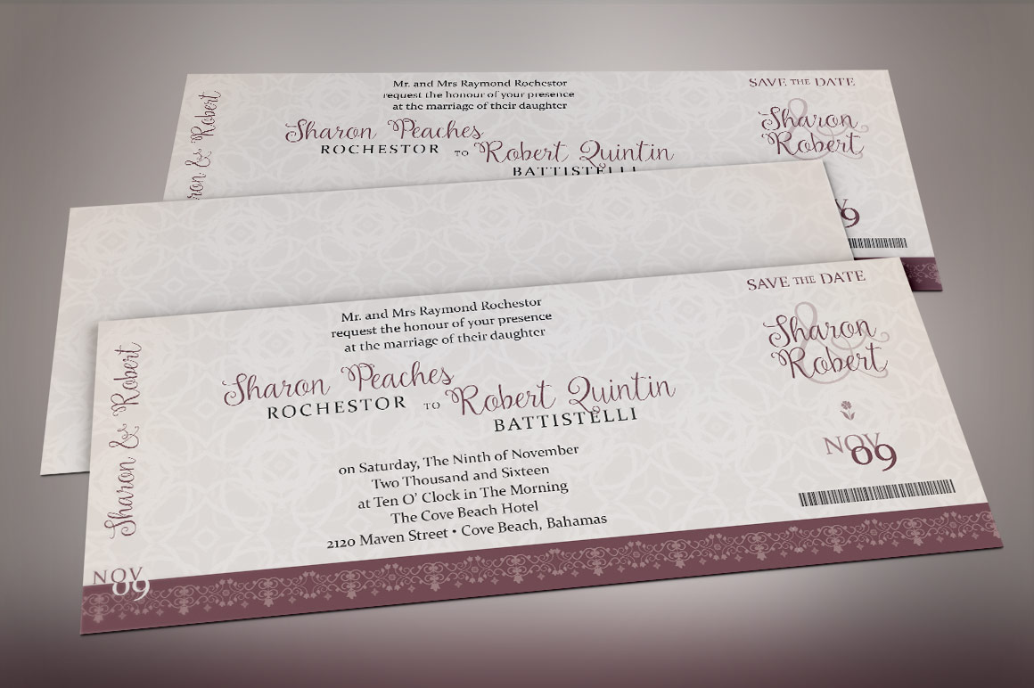 Vintage Boarding Pass Invitation Template example image 5