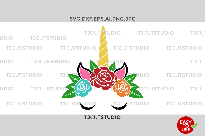Unicorn Svg, unicorn flowers, Unicorn birthday svg, Unicorn svg, Unicorn head svg, Svg Files for Silhouette Cameo or Cricut Commercial & Personal Use. example image 1