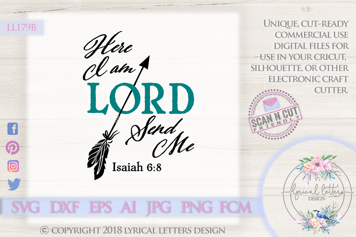 Here I Am Lord Send Me Isaiah 6 SVG DXF Cut File LL179B example image 1
