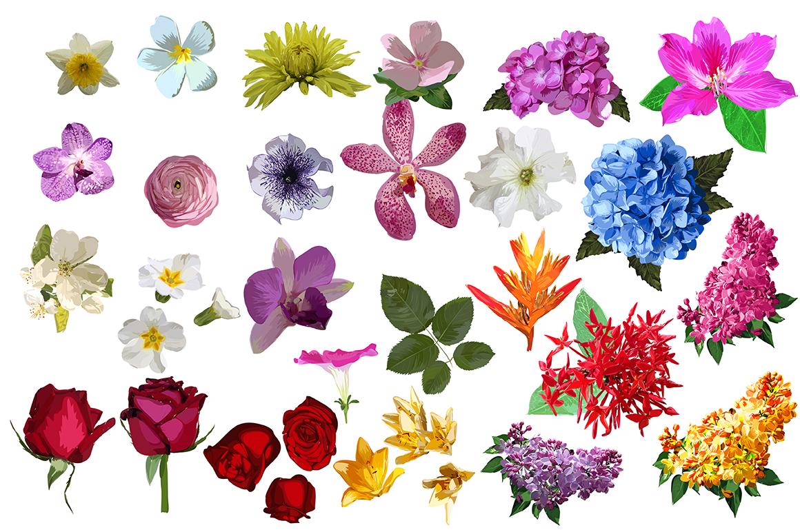 32 Realistic flowers bundle. example image 2