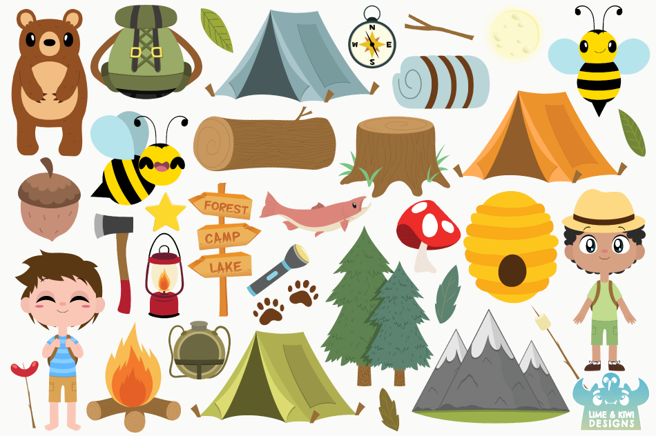 Camping Boys Clipart, Instant Download Vector Art example image 2