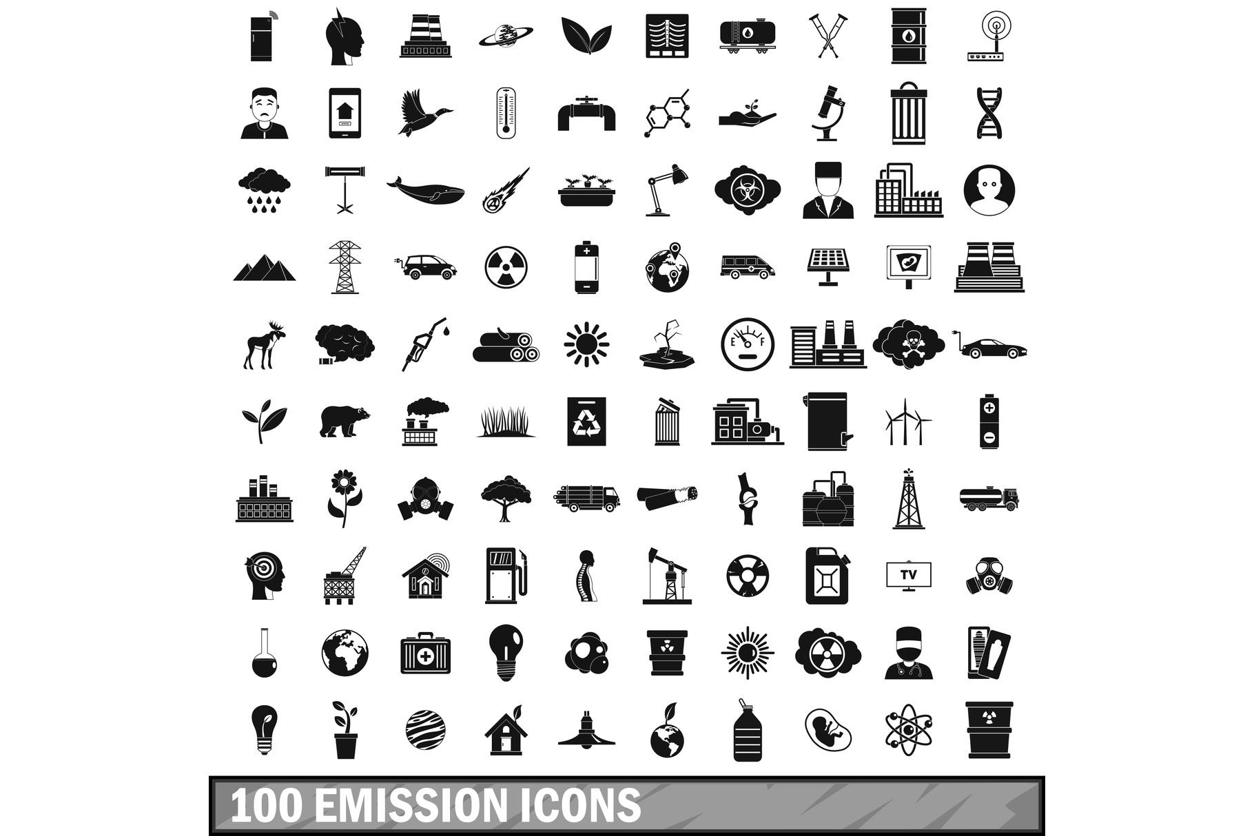 100 emission icons set, simple style example image 1