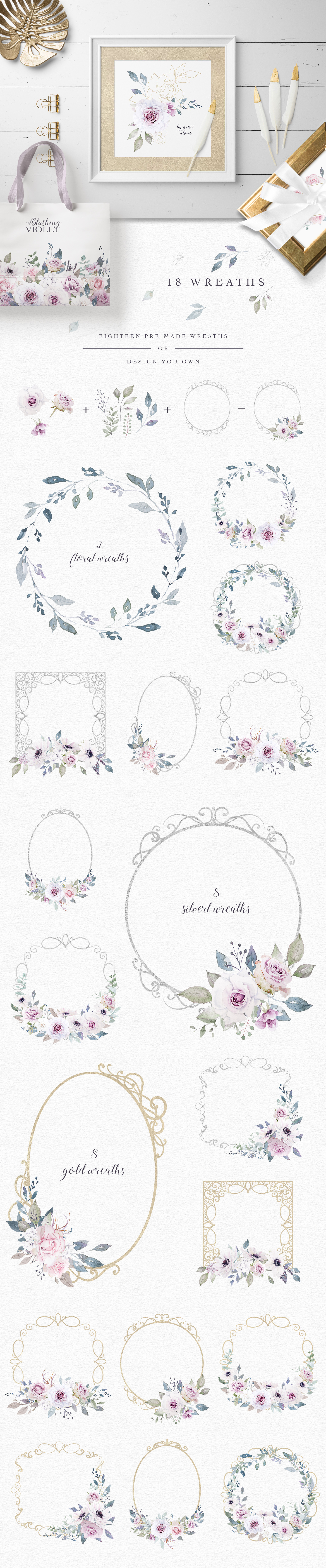 Blushing Violet Watercolor Clipart Collection example image 6