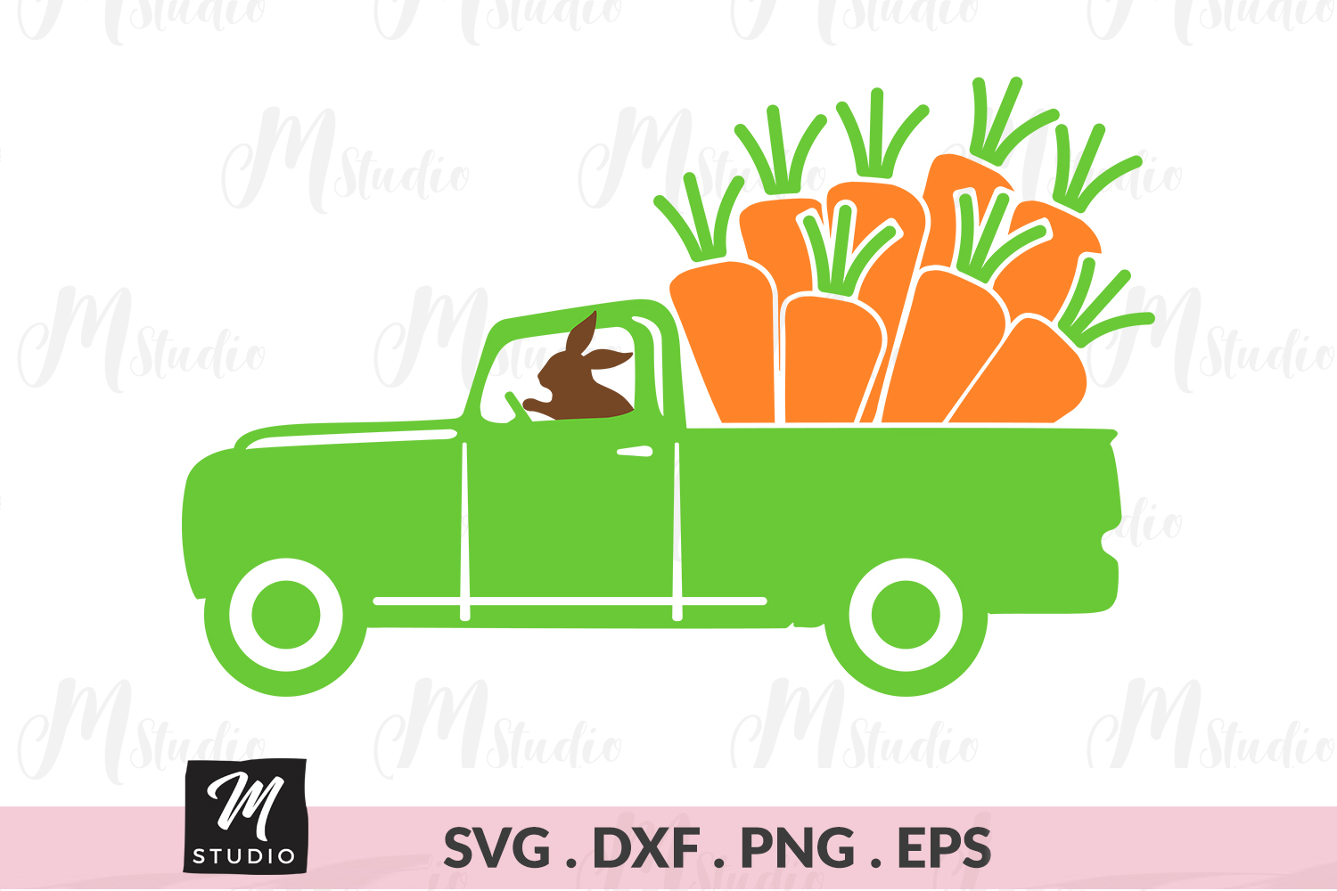 Easter Truck carrot svg. example image 1