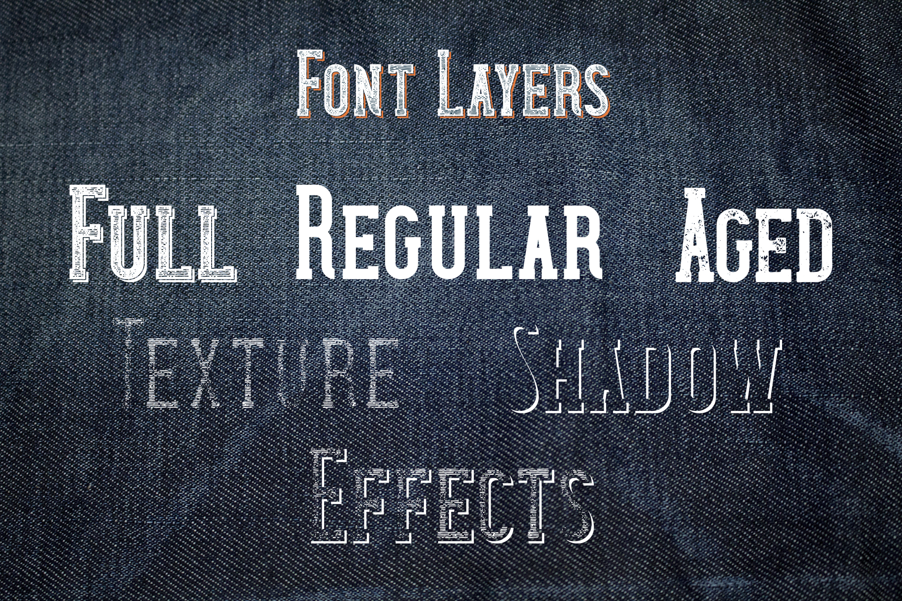 Wanted Denim layered font example image 3