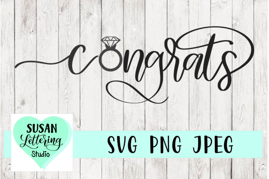 Congrats Engagement, Wedding Ring Cut File, SVG, PNG, JPEG example image 1