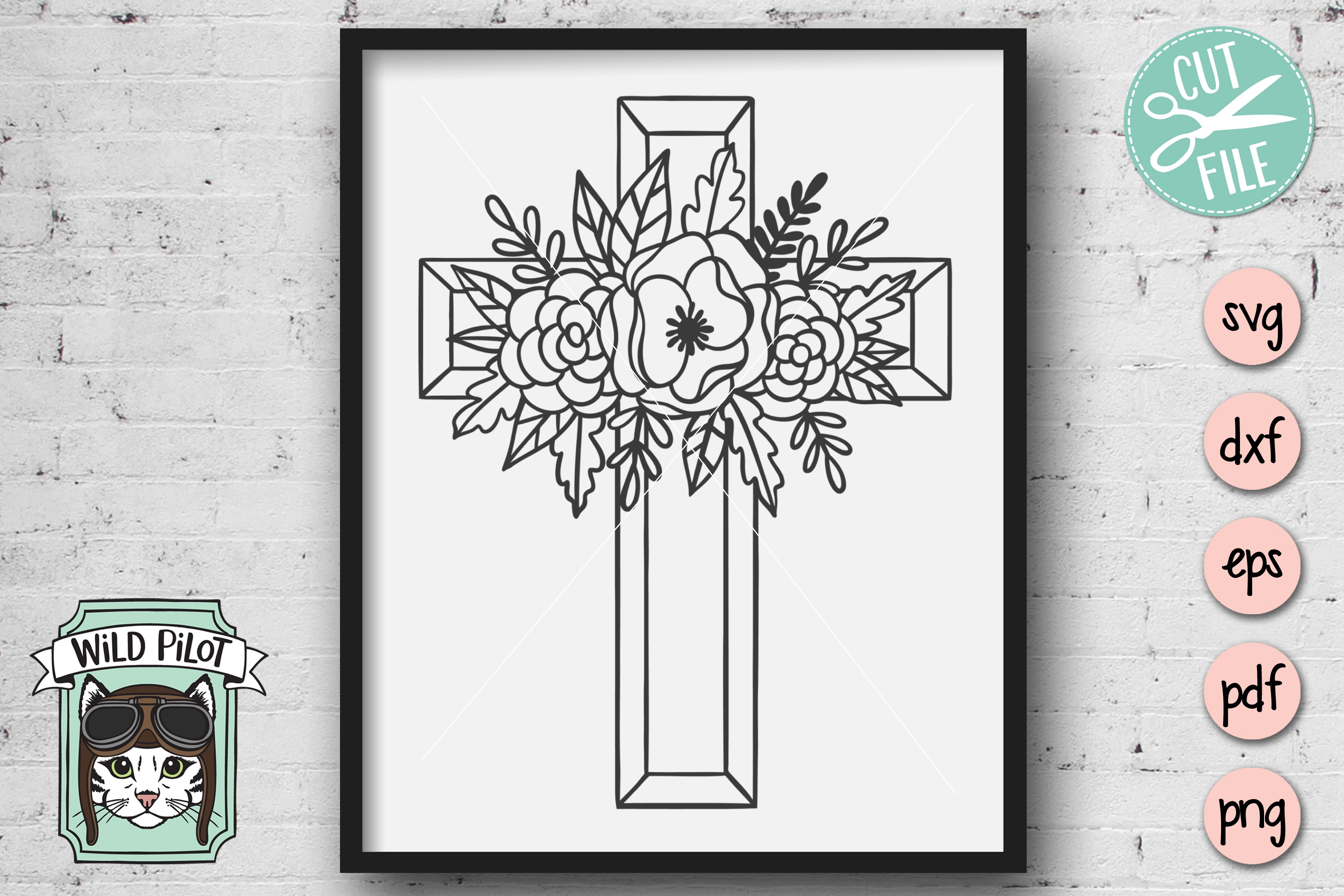 Flower Cross SVG file, Religious Cut File, Christian, Floral example image 3
