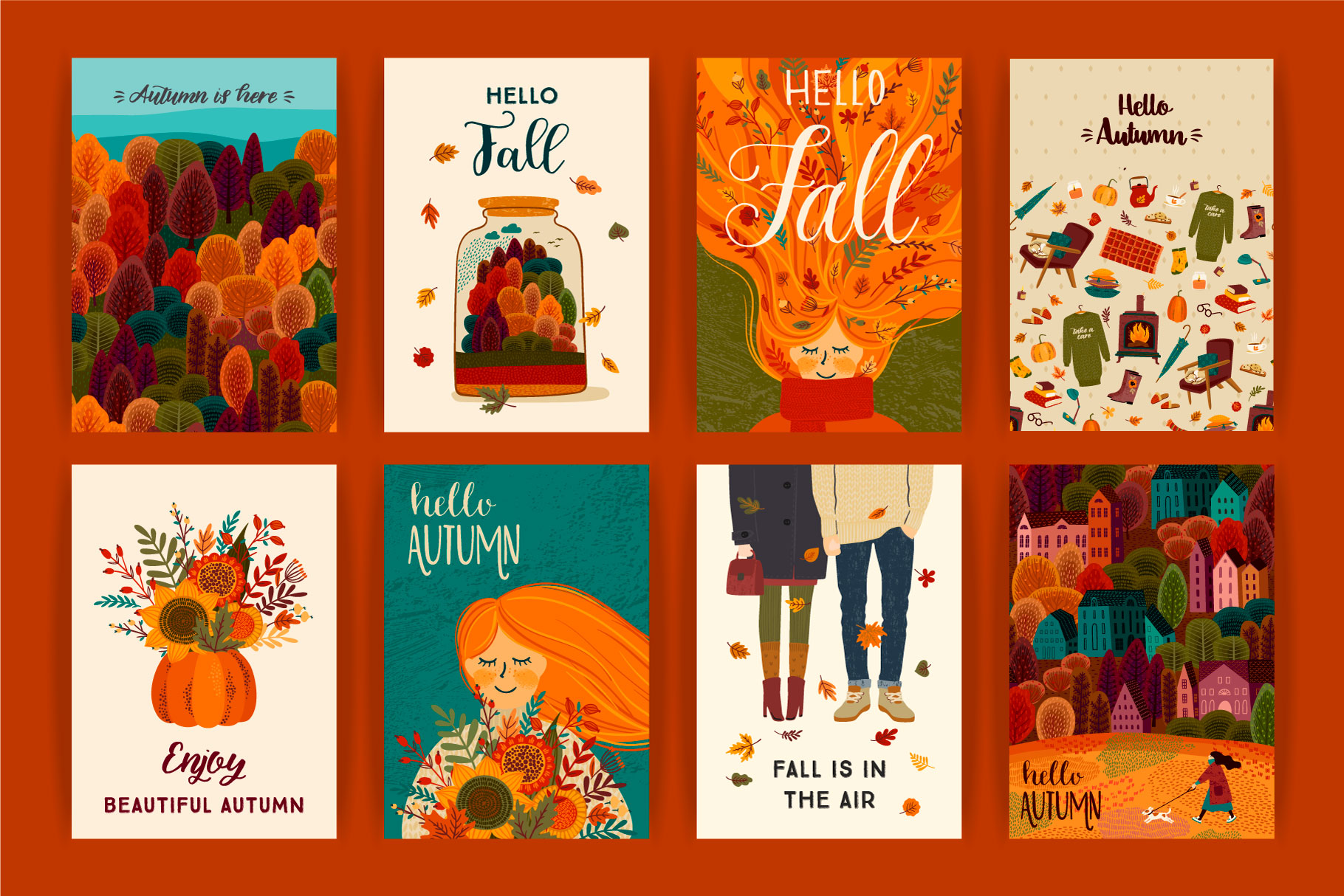 Autumn collection. Cards & patterns. example image 2