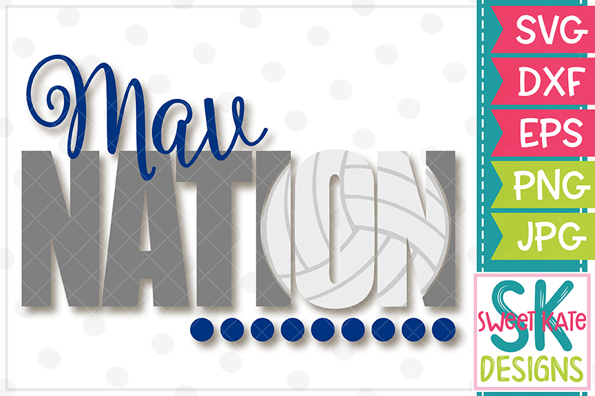 Mav Nation with Knockout Volleyball SVG DXF EPS PNG JPG example image 2