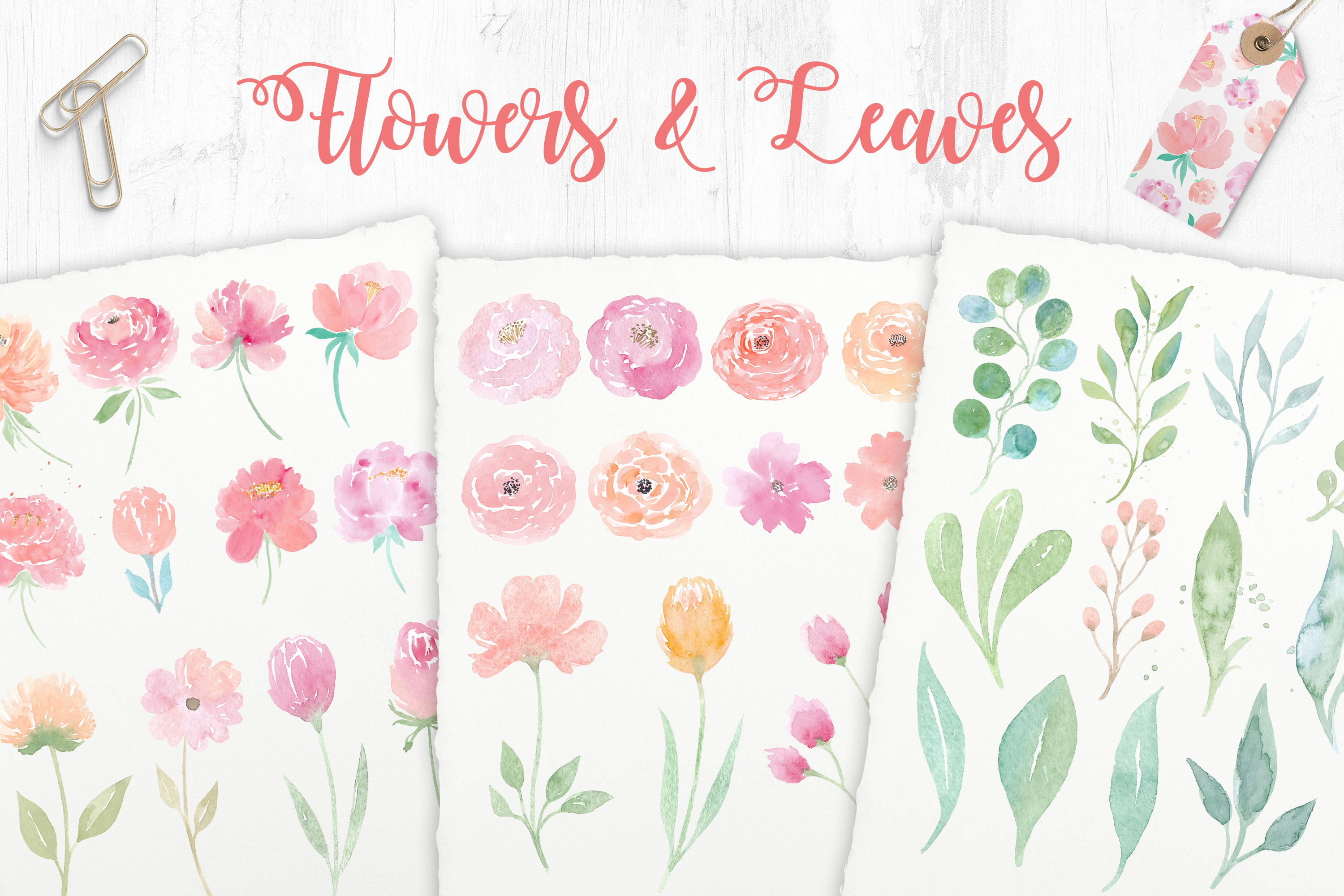 Watercolor Wedding Clipart. Flowers & Textures example image 2