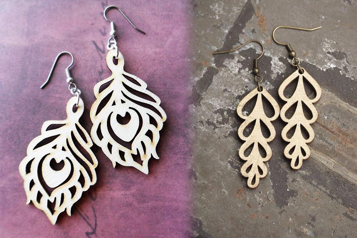 Wood Earrings SVG - Leather Earrings SVG - Earrings Bundle example image 3
