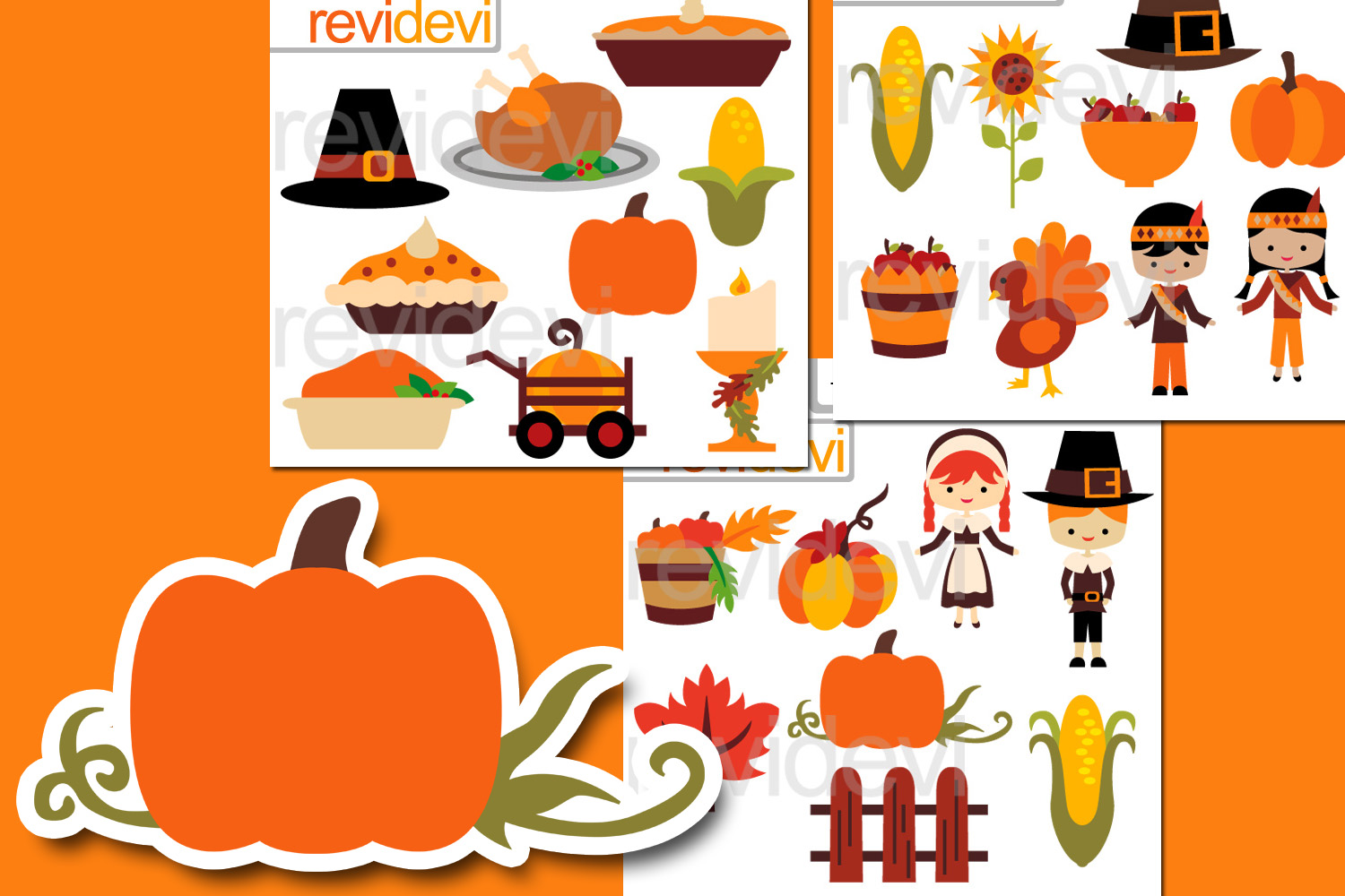 Happy Thanksgiving Bundle Graphics Clipart example image 1
