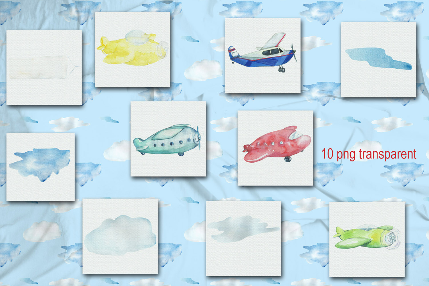 Watercolor Kid's airplanes clipart, patterns example image 2